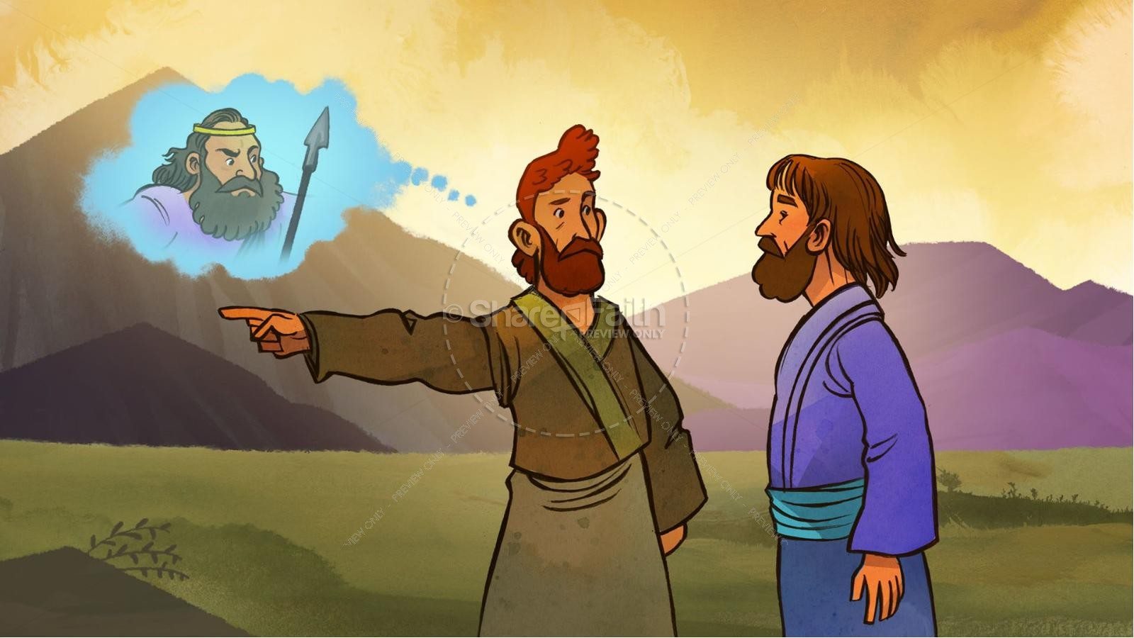 1 Samuel 20 David and Jonathan Kids Bible Story | slide 2