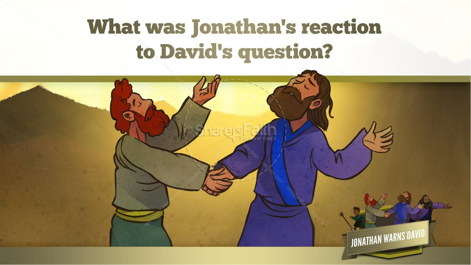 1 Samuel 20 David and Jonathan Kids Bible Story | slide 16
