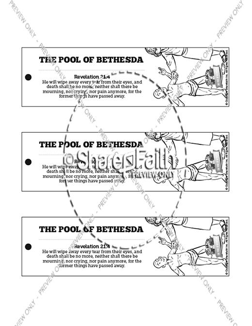 John 5 pool of bethesda bible bookmarks bible bookmarks for Healing at the pool of bethesda coloring page