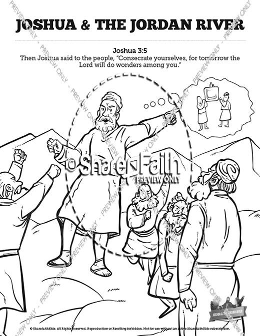 Joshua 3 Crossing The Jordan River Sunday School Coloring