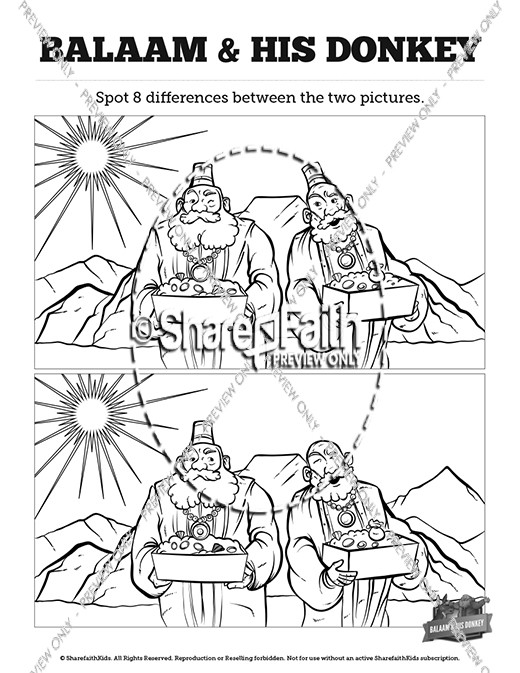 Numbers 22 Balaam S Donkey Kids Spot The Difference Kids