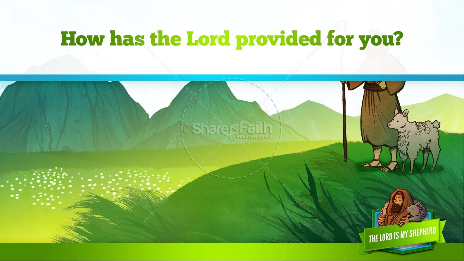 Psalm 23 The Lord Is My Shepherd Kids Bible Story | slide 13