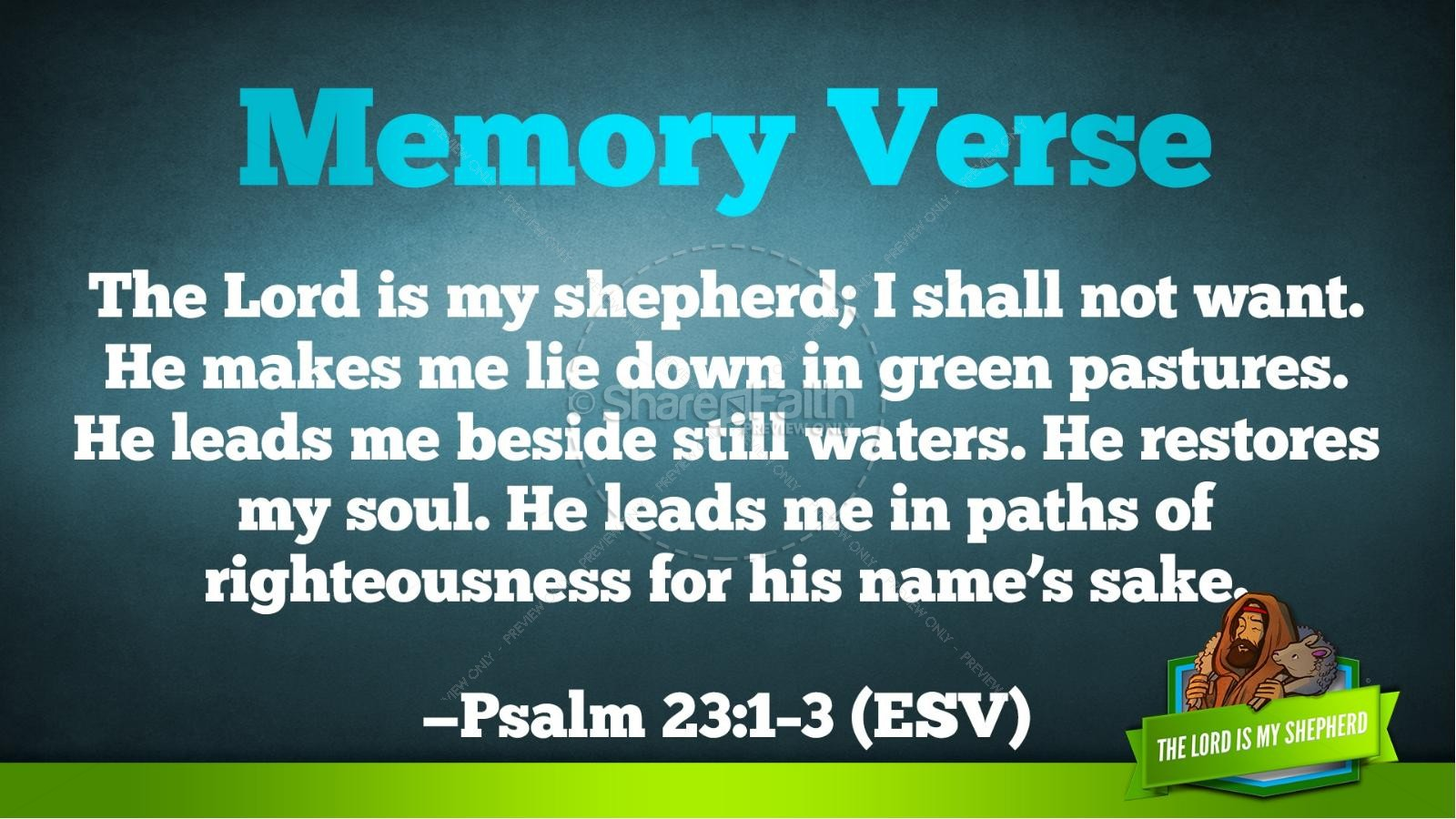 Psalm 23 The Lord Is My Shepherd Kids Bible Story | slide 35