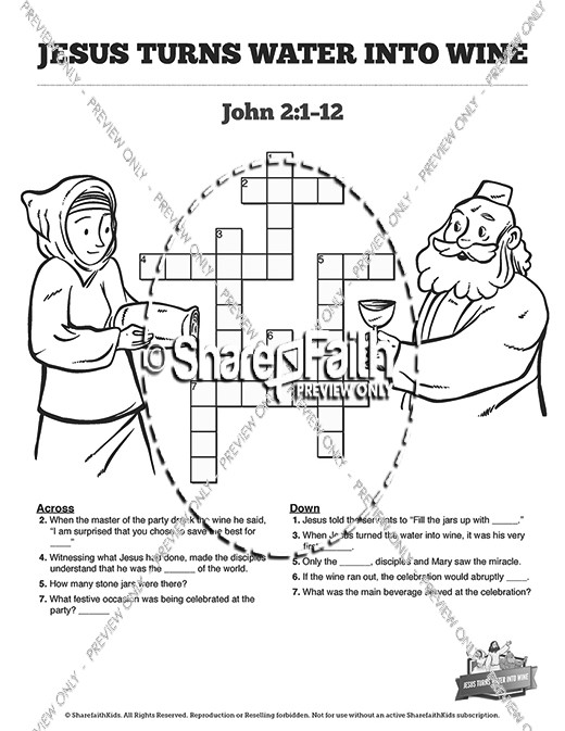 Jesus turns water to wine coloring pages ~ Jesus Turns Water Into Wine Sunday School Crossword ...