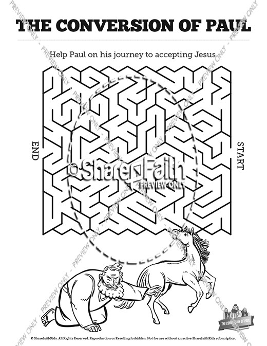 Acts 9 paul 39 s conversion bible mazes bible mazes for Paul on damascus road coloring page