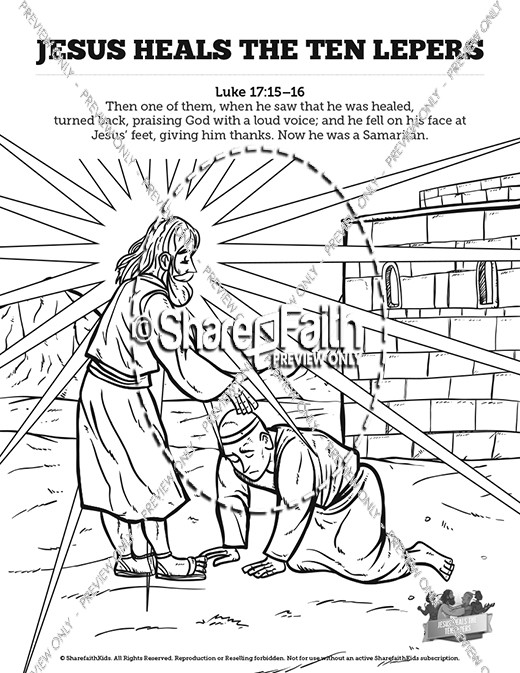 Luke 17 ten lepers sunday school coloring pages sunday for Jesus heals ten lepers coloring page