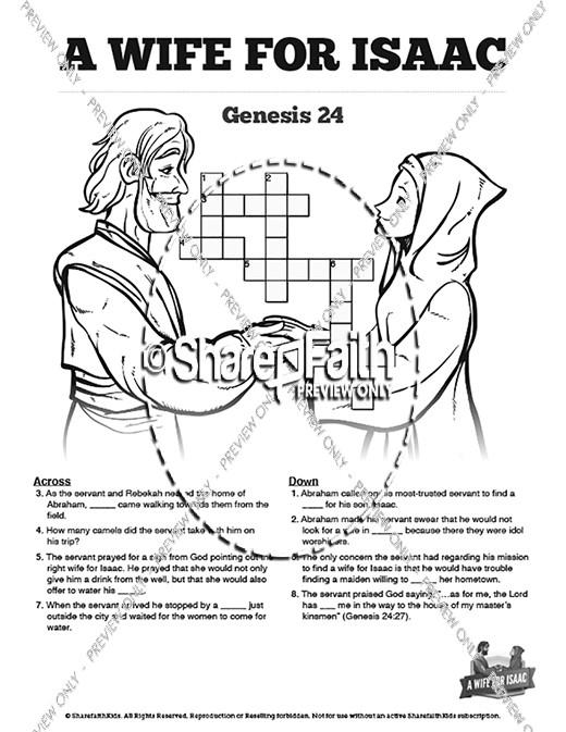 Genesis 24 Isaac And Rebekah Sunday School Crossword