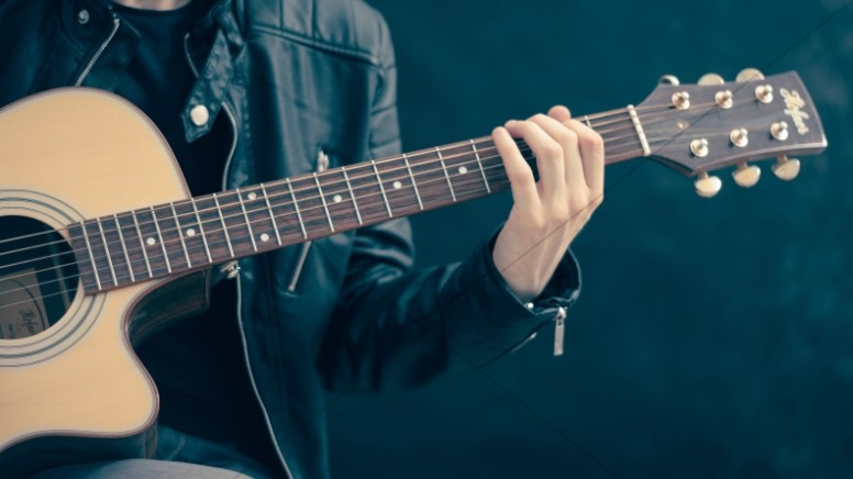 Worship Leader Playing Acoustic Guitar Chords Christian Music Stock Photo