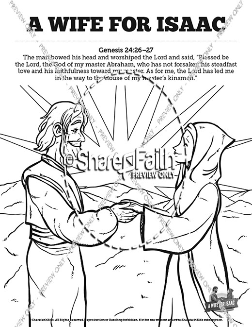 genesis 24 isaac and rebekah sunday school coloring pages - Abraham And Isaac Coloring Page