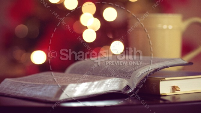 Open Bible with Warm Cup of Coffee Christian Stock Photo