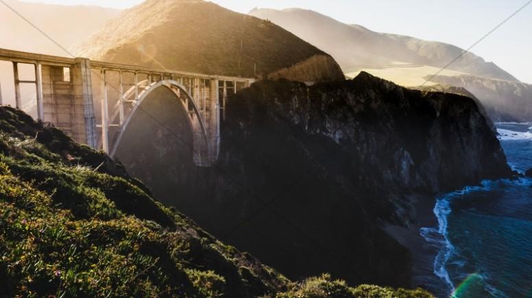 Arch Truss Bridge Over Gorge Church Stock Photo
