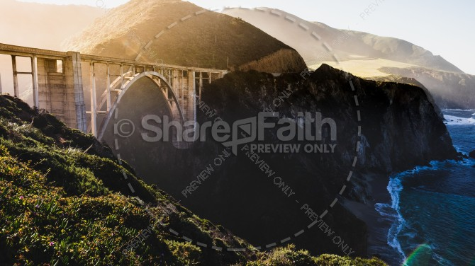 Arch Truss Bridge Over Gorge Church Stock Photo