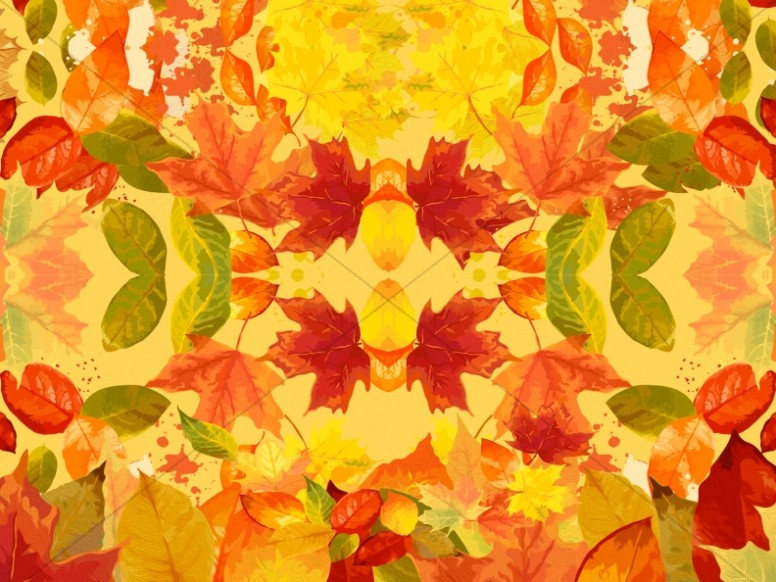 Autumn Leaves Kaleidoscope Christian Background