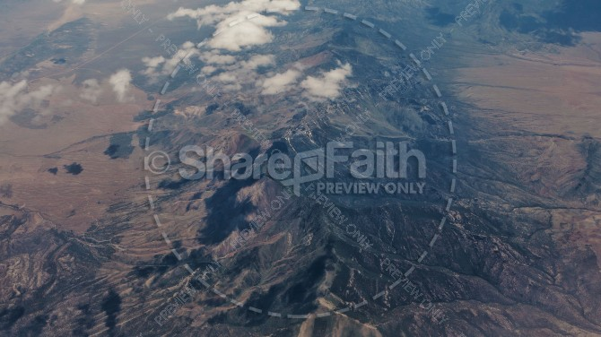 Aerial View of a Mountain Range Christian Landscape Stock Photo
