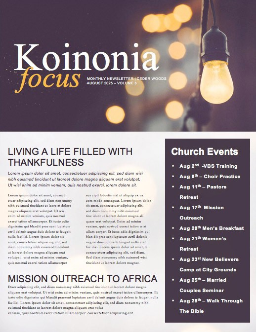 be the light church newsletter template template