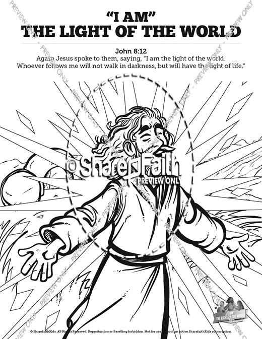 John 8 light of the world sunday school coloring pages for Jesus is the light of the world coloring page