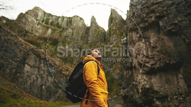 Man Hiking Looking Toward Heaven Christian Stock Photo