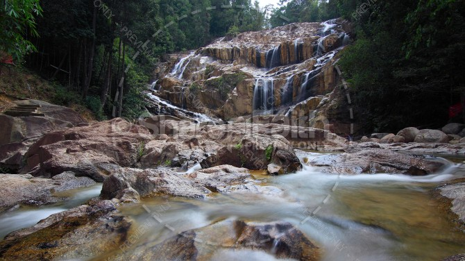 Cascading River Waterfall Stock Photo