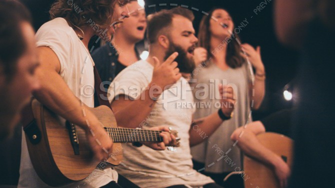 Youth Group Worship Christian Stock Photo