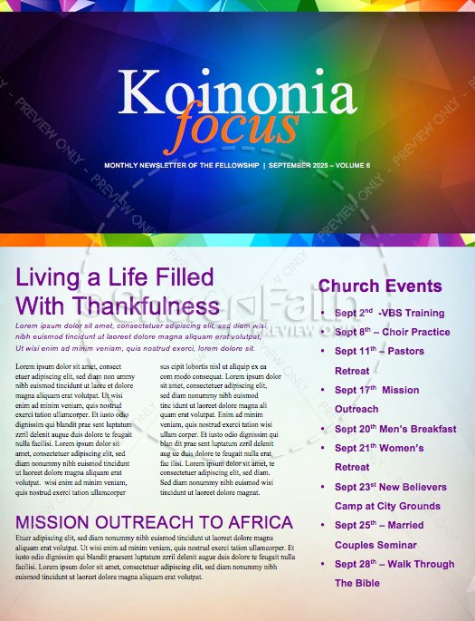 Fall Ministry Church Newsletter Template | page 1