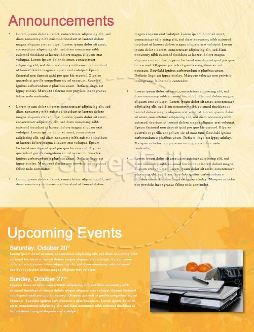 Fall Festival Autumn Leaves Church Newsletter Template