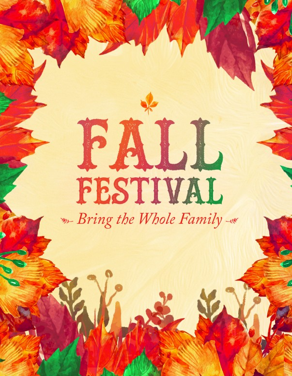 Fall Festival Autumn Leaves Church Flyer Template Template | Flyer ...