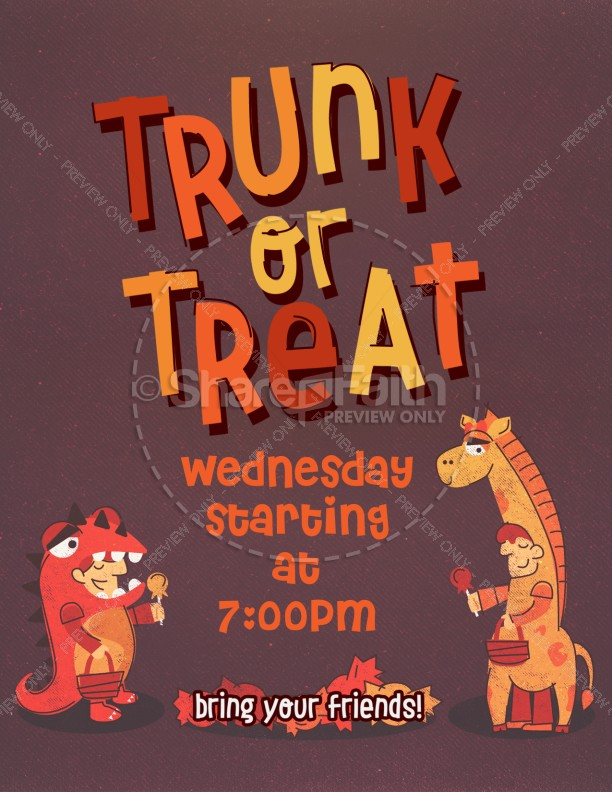 Trunk or Treat Harvest Festival Flyer