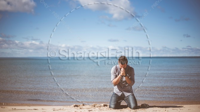Kneeling Man In Prayer Christian Stock Photo