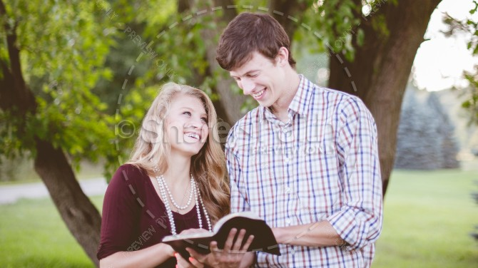 Couple Reading Bible Christian Stock Photo