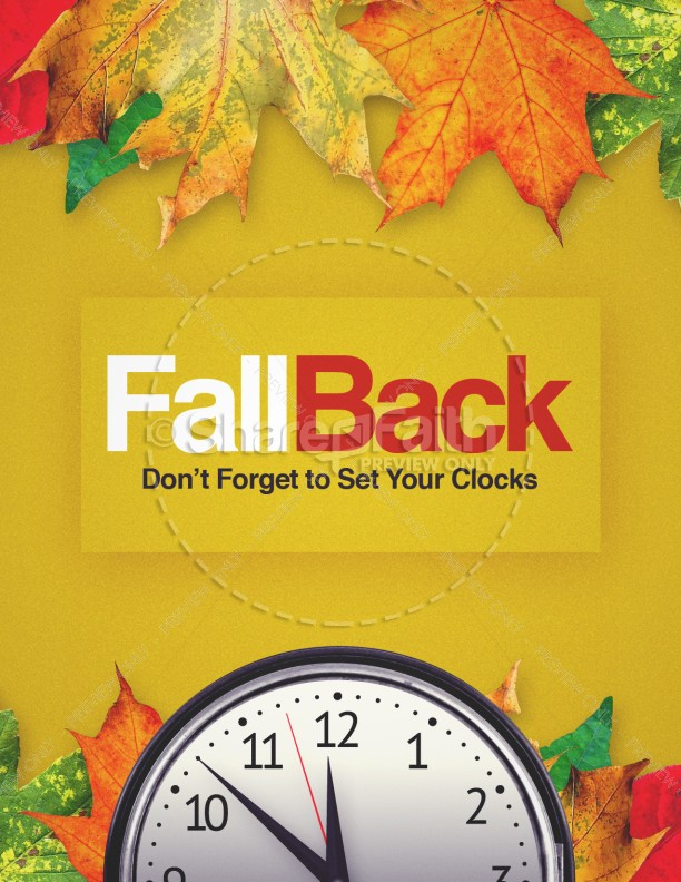 Fall Back Daylight Saving Time Church Flyer Template