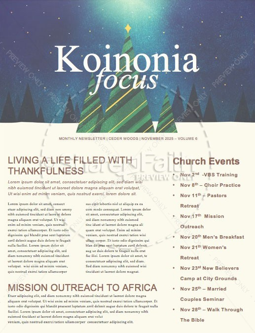 Merry Christmas Tree Church Newsletter | page 1