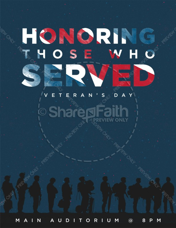 Veterans Day Honoring Those Who Served Church Flyer
