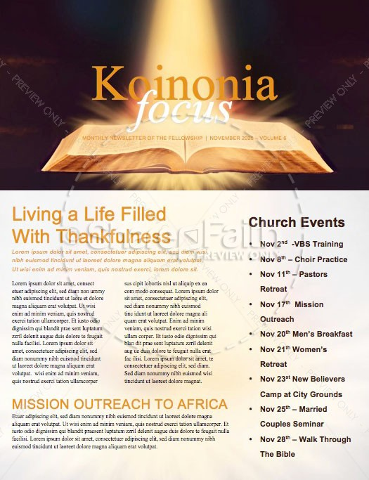 The Word of God Bible Church Newsletter | page 1