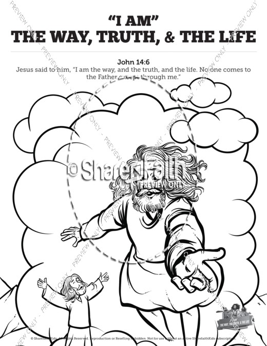 john 14 the way the truth and the life sunday school coloring pages - Sunday School Coloring Pages