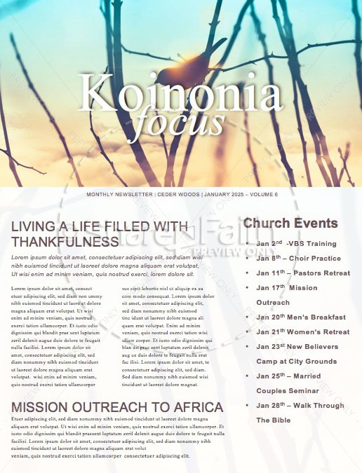Free At Last Church Newsletter