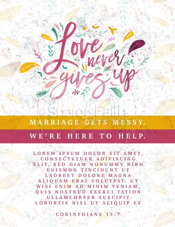 Love Never Gives Up Church Flyer