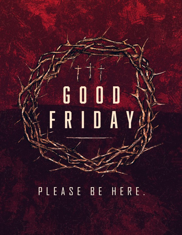 good friday cross and crown church flyer template