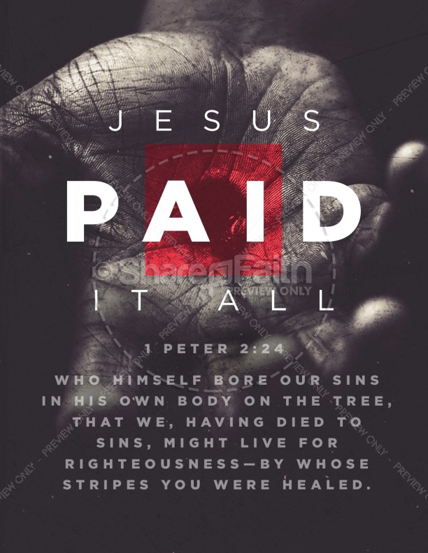 Jesus Paid It All Easter Church Flyer