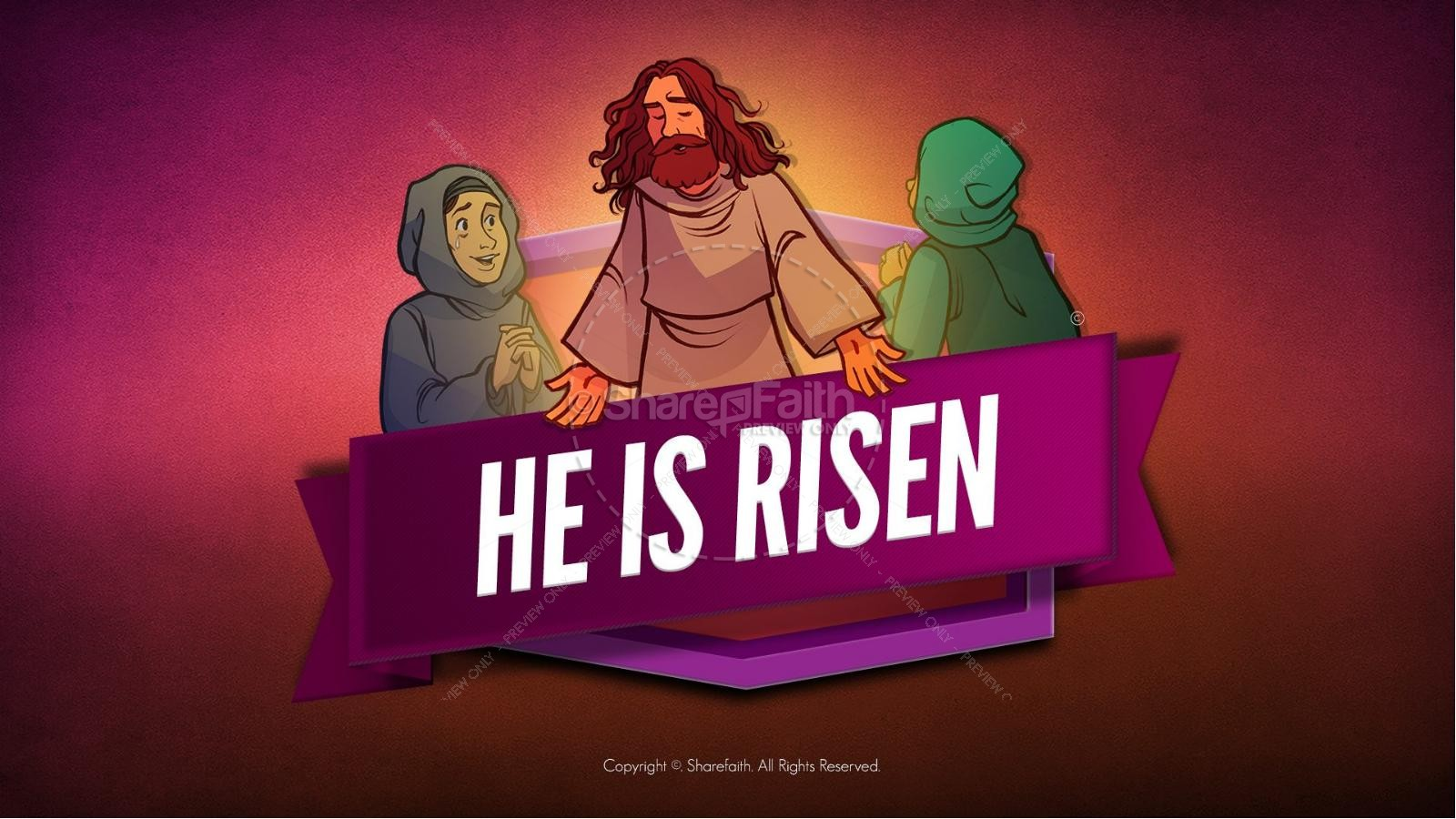 Matthew 28 He Is Risen Easter Kids Bible Lesson | slide 1