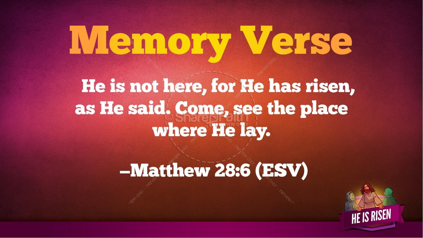 Matthew 28 He Is Risen Easter Kids Bible Lesson | slide 39