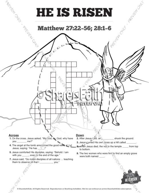 Matthew 28 He Is Risen Easter Sunday School Crossword