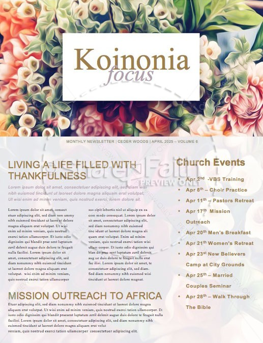 Easter Flower Church Newsletter | page 1