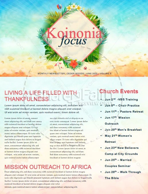 Summer Events Church Newsletter | page 1