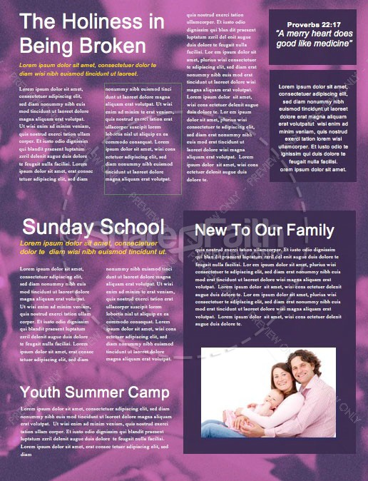Family Values Church Newsletter Template