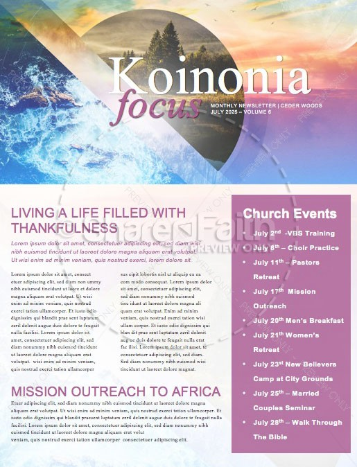 Holy Living Church Newsletter Template