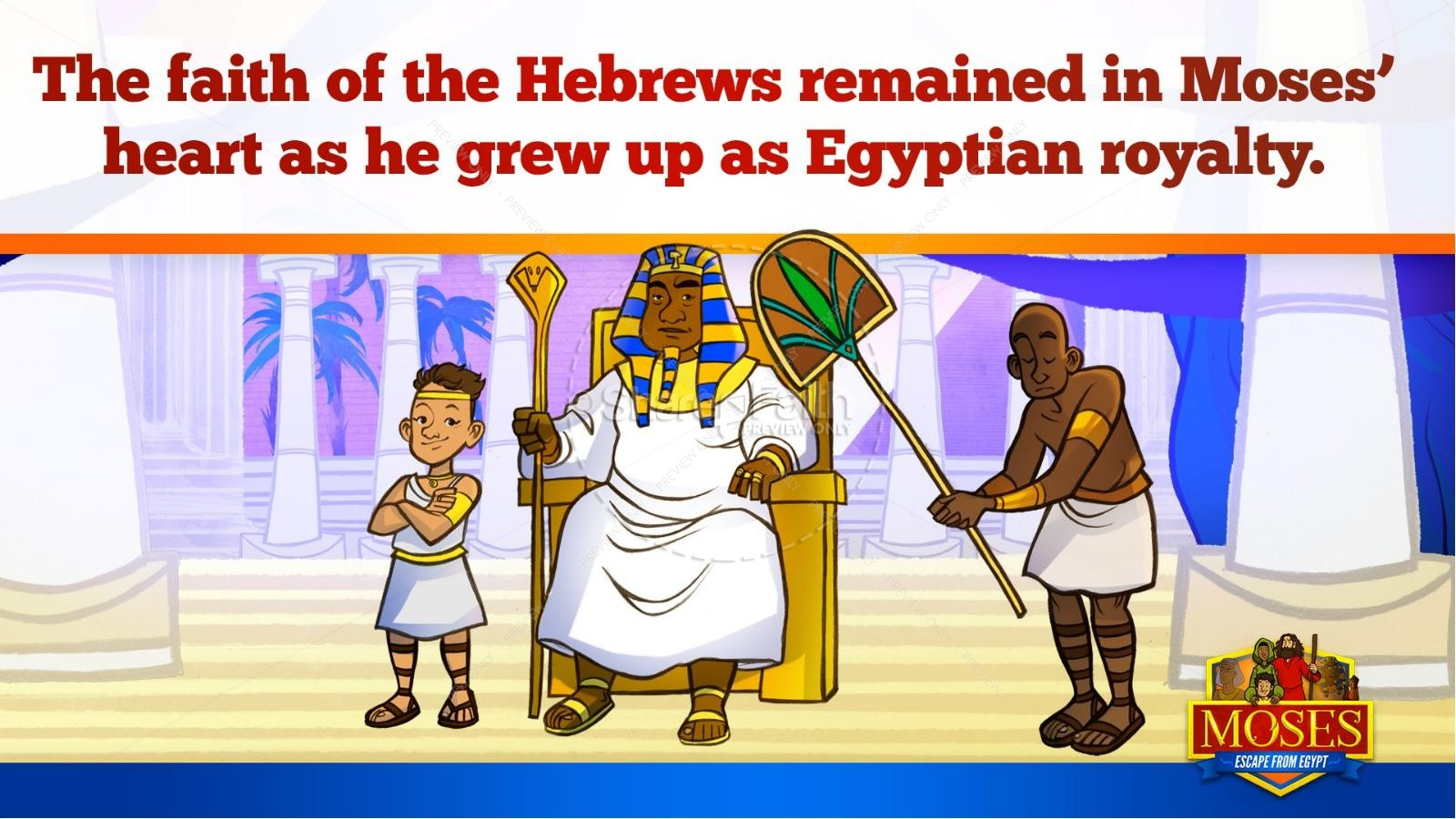 Exodus 2 Moses Escapes From Egypt Kids Bible Story | slide 12