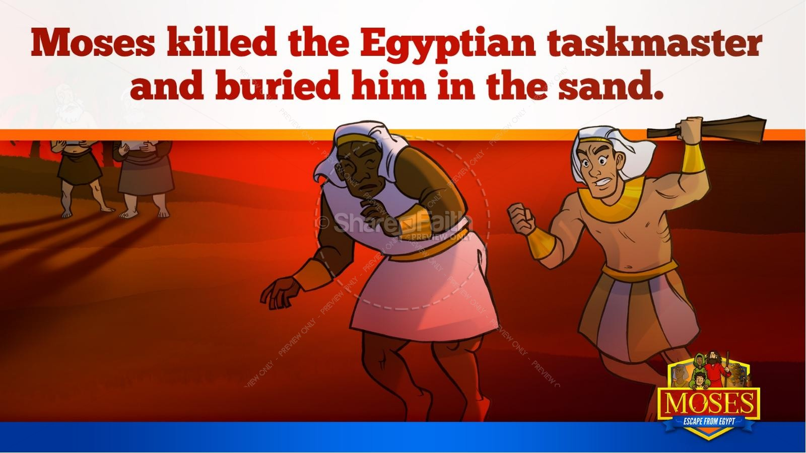 Exodus 2 Moses Escapes From Egypt Kids Bible Story | slide 20