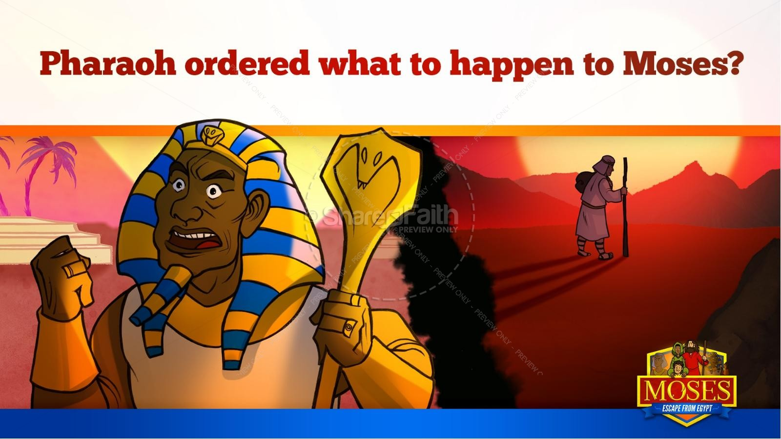 Exodus 2 Moses Escapes From Egypt Kids Bible Story | slide 27