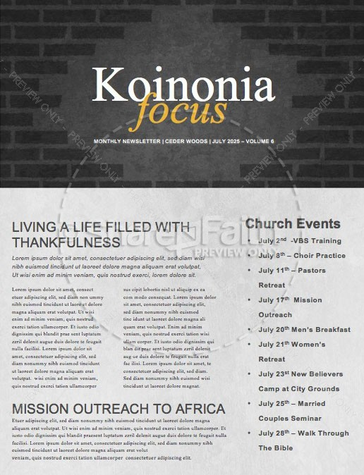 Kingdom Builders Church Newsletter Template
