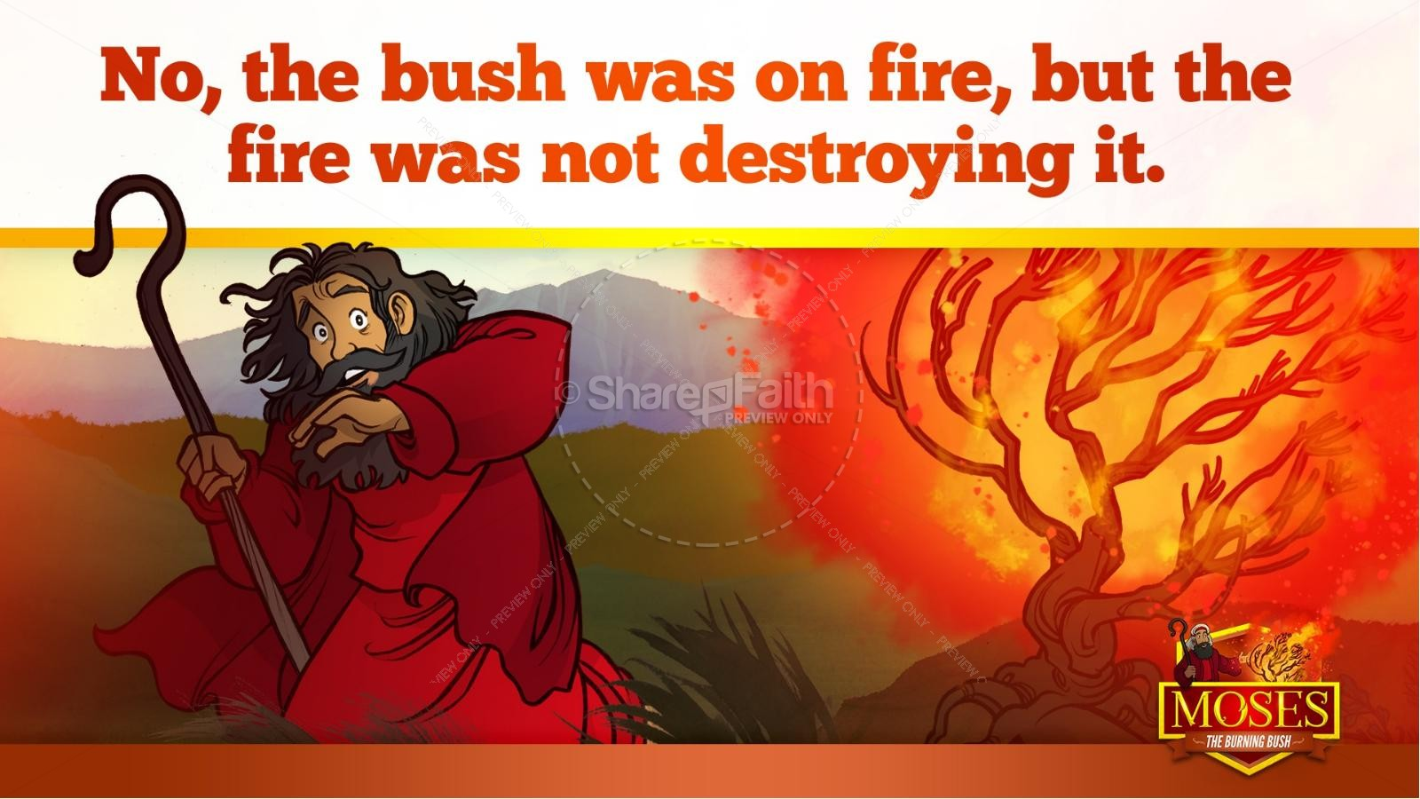 Exodus 3 Moses and the Burning Bush Kids Bible Stories | slide 16